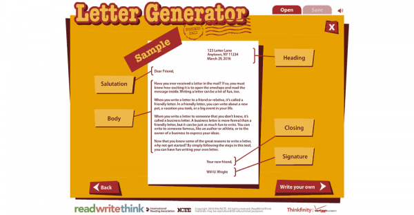 ReadWriteThink's Letter Generator Reviews | edshelf