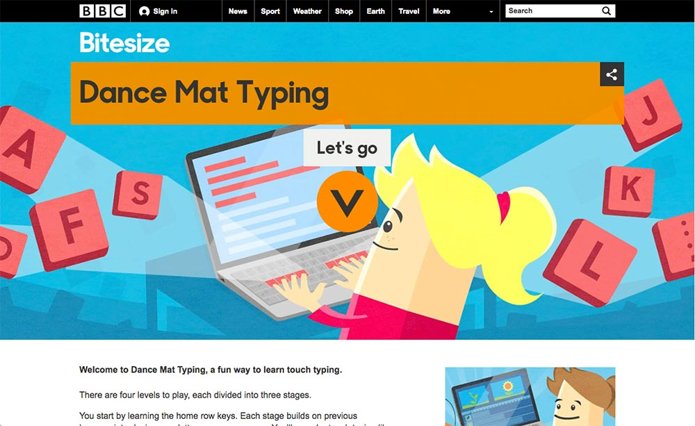 BBC - Schools - Dance Mat Typing - Home - LessonPaths