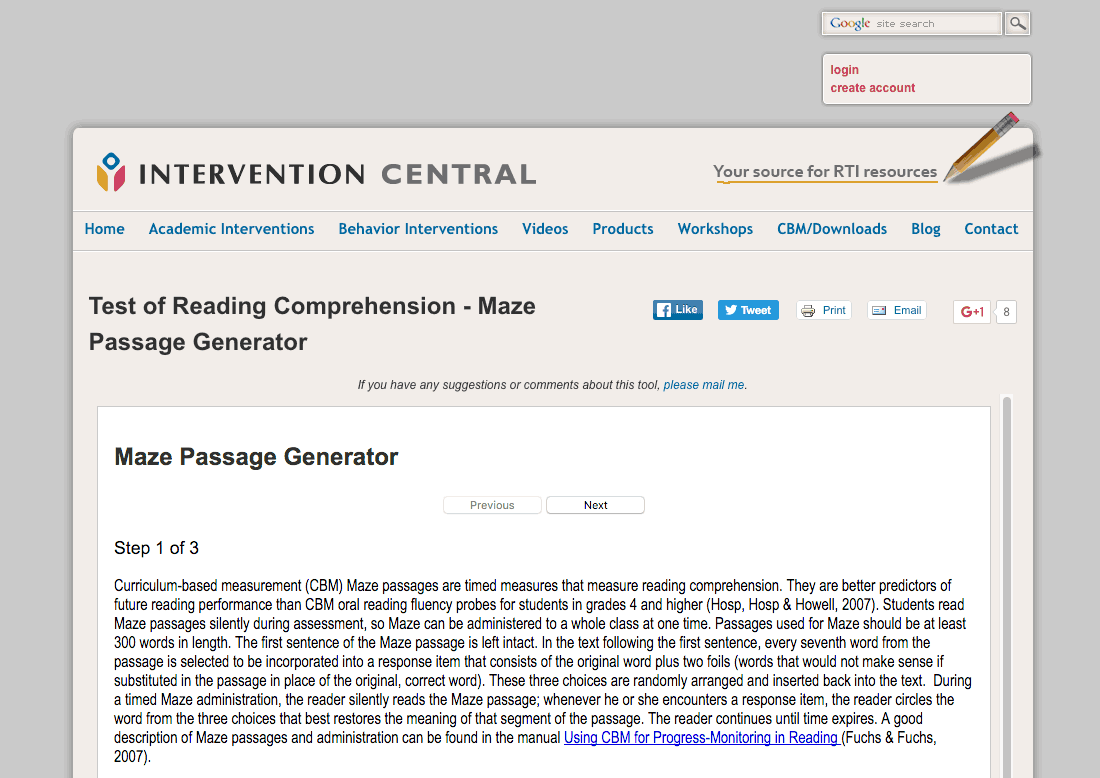 Maze Passage Creator Reviews – Intervention Central Math Worksheet Generator