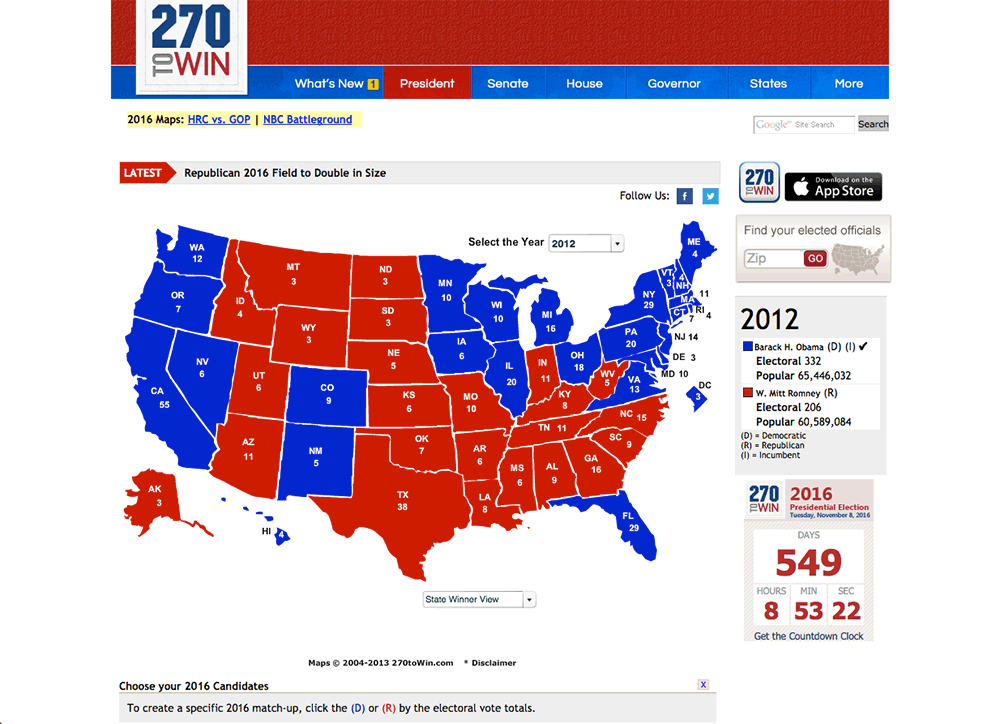 Presidential Election Interactive Map Reviews Edshelf - Us presidential election map 2016