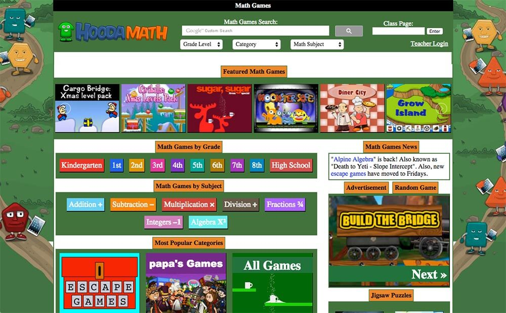 Newly added content This website has tons of math games